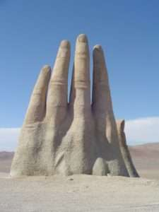 Hand of the Desert by Chilean sculptor Mario Irarrázabal